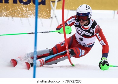 ZAGREB, CROATIA - JANUARY 4, 2018 : Kristoffersen Henrik of Nor competes during the Audi FIS Alpine Ski World Cup Mens Slalom, Snow Queen Trophy 2018 in Zagreb, Croatia.