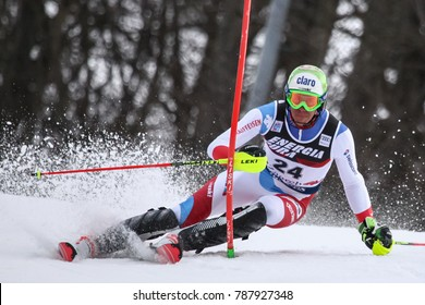 ZAGREB, CROATIA - JANUARY 4, 2018 : Zenhaeusern Ramon of Sui competes during the Audi FIS Alpine Ski World Cup Mens Slalom, Snow Queen Trophy 2018 in Zagreb, Croatia.
