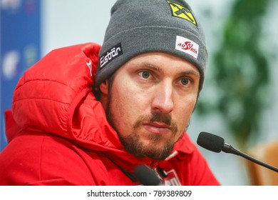 ZAGREB, CROATIA - JANUARY 4, 2018 :  Press conference with first placed Marcel Hirscher of Austria on the Audi FIS Alpine Ski World Cup Men's Slalom, Snow Queen Trophy 2018 in Zagreb, Croatia.