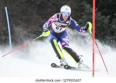 Zagreb, Croatia - January 5, 2019 : Ignjatovic Nevena from Serbia competes during the Audi FIS Alpine Ski World Cup Women's Slalom, Snow Queen Trophy 2019 in Zagreb, Croatia.