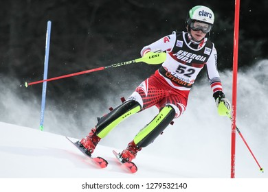 Zagreb, Croatia - January 5, 2019 : Michaela Dygruber from Austria competes during the Audi FIS Alpine Ski World Cup Women's Slalom, Snow Queen Trophy 2019 in Zagreb, Croatia.