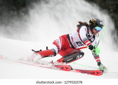 Zagreb, Croatia - January 5, 2019 : Katharina Huber from Austria competes during the Audi FIS Alpine Ski World Cup Women's Slalom, Snow Queen Trophy 2019 in Zagreb, Croatia.