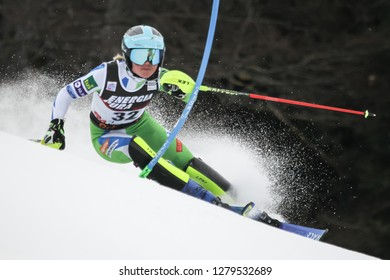 Zagreb, Croatia - January 5, 2019 : Meta Hrovat from Slovenia competes during the Audi FIS Alpine Ski World Cup Women's Slalom, Snow Queen Trophy 2019 in Zagreb, Croatia.