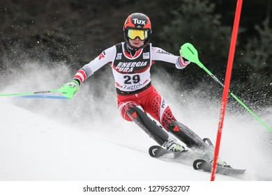 Zagreb, Croatia - January 5, 2019 : Stephanie Brunner from Austria competes during the Audi FIS Alpine Ski World Cup Women's Slalom, Snow Queen Trophy 2019 in Zagreb, Croatia.