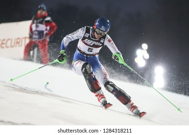 Zagreb, Croatia - January 5, 2019 : Petra Vlhova from Slovakia competes during the Audi FIS Alpine Ski World Cup Women's Slalom, Snow Queen Trophy 2019 in Zagreb, Croatia.