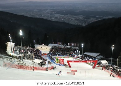 Zagreb, Croatia - January 5, 2019 : View of the skier with  finish line with spectators during the Audi FIS Alpine Ski World Cup Women's Slalom, Snow Queen Trophy 2019 in Zagreb, Croatia.