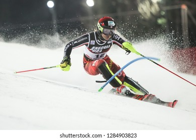 Zagreb, Croatia - January 5, 2019 : Erin MielZynski from Canada competes during the Audi FIS Alpine Ski World Cup Women's Slalom, Snow Queen Trophy 2019 in Zagreb, Croatia.