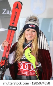 Zagreb, Croatia - January 5, 2019 : First placed Shiffrin Mikaela from Usa on the award ceremony of the Audi FIS Alpine Ski World Cup Women's Slalom, Snow Queen Trophy 2019 in Zagreb, Croatia.