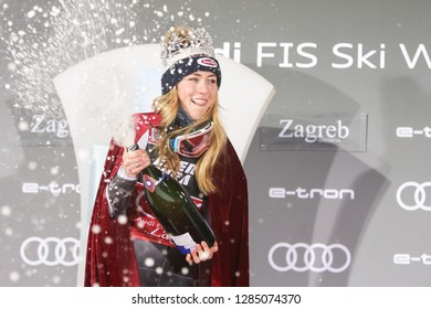 Zagreb, Croatia - January 5, 2019 : First placed Shiffrin Mikaela from Usa celebrating with champagne on the award ceremony of the Audi FIS Alpine Ski World Cup Women's Slalom, Snow Queen Trophy 2019.