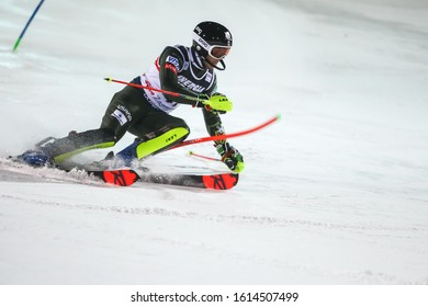 Zagreb, Croatia - January 5, 2020 : Luke Winters from United States competing on the 2nd run during the Audi FIS Alpine Ski World Cup 2019/2020, 3rd Mens Slalom, Snow Queen Trophy 2020 in Zagreb.