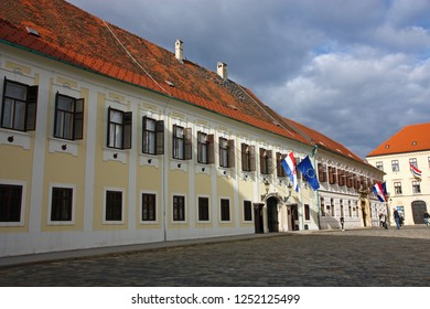 ZAGREB, CROATIA - JANUARY 6, 2018: Banski dvori, residence of Government of Croatia