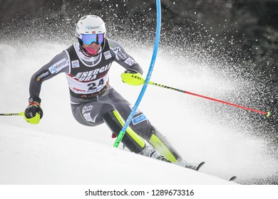 Zagreb, Croatia - January 6, 2019 : Jonathan Nordbotten from Norway competes during the Audi FIS Alpine Ski World Cup Mens Slalom, Snow Queen Trophy 2019 in Zagreb, Croatia.