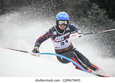 Zagreb, Croatia - January 6 , 2019 : Donghyun Jung from South Korea competes during the Audi FIS Alpine Ski World Cup Mens Slalom, Snow Queen Trophy 2019 in Zagreb, Croatia.