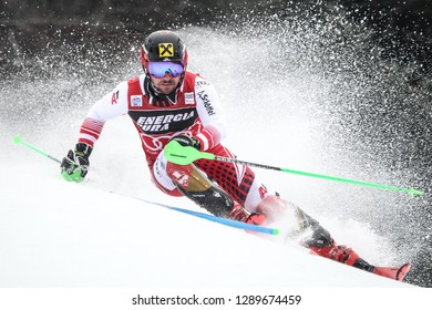 Zagreb, Croatia - January 6 , 2019 : Marcel Hirscher from Austria competes during the Audi FIS Alpine Ski World Cup Mens Slalom, Snow Queen Trophy 2019 in Zagreb, Croatia.