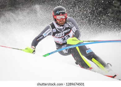 Zagreb, Croatia - January 6 , 2019 : Leif Kristian Nestvold Haugen from Norway competes during the Audi FIS Alpine Ski World Cup Mens Slalom, Snow Queen Trophy 2019 in Zagreb, Croatia.