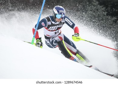 Zagreb, Croatia - January 6 , 2019 : Dave Ryding from United Kingdom competes during the Audi FIS Alpine Ski World Cup Mens Slalom, Snow Queen Trophy 2019 in Zagreb, Croatia.