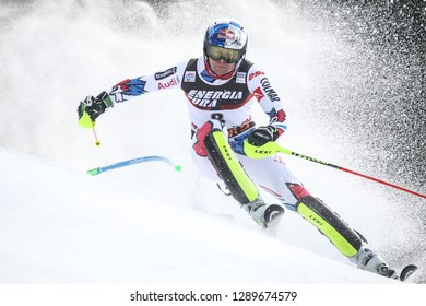 Zagreb, Croatia - January 6 , 2019 : Alexis Pinturault from France competes during the Audi FIS Alpine Ski World Cup Mens Slalom, Snow Queen Trophy 2019 in Zagreb, Croatia.