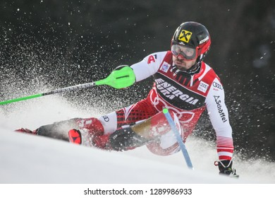 Zagreb, Croatia - January 6, 2019 : Marcel Hirscher from Austria competes during the Audi FIS Alpine Ski World Cup Mens Slalom, Snow Queen Trophy 2019 in Zagreb, Croatia.