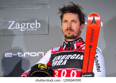 Zagreb, Croatia - January 6, 2019 : First placed Marcel Hirscher from Austria during award ceremony of the Audi FIS Alpine Ski World Cup Mens Slalom, Snow Queen Trophy 2019 in Zagreb, Croatia.