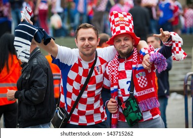 ZAGREB, CROATIA - JUL 07: 2014 FIFA World Cup Brazil Preliminaries: Croatia VS. Scotland July 07, 2013 Zagreb, Croatia. Croatian supporters in front of the stadium before the match.