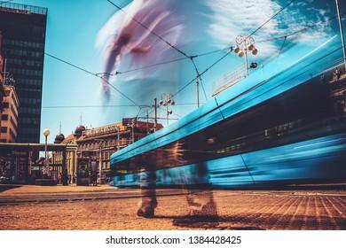 Zagreb, Croatia - Jul 18, 2017: Long exposure shot of urban scene of busy city center of Zagreb, Croatia. Ban Jelacic square is the transportation central of Zagreb, the capital of Croatia.