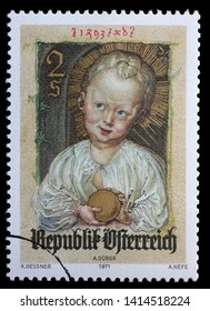 ZAGREB, CROATIA - JULY 02, 2014: A stamp issued in the Austria shows Jesus as Redeemer, miniature by Albrecht Durer, circa 1971.