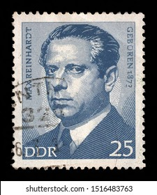 ZAGREB, CROATIA - JULY 02, 2014: A stamp issued in Germany - Democratic Republic (DDR) shows Max Reinhardt (1873-1943), Austrian-born American theater and film director, intendant, and theatrical prod