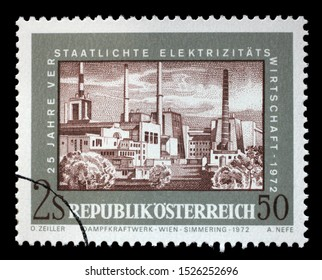 ZAGREB, CROATIA - JULY 02, 2014: A stamp issued in the Austria shows Steam Power Plant Vienna, the 25th Anniversary of Nationalized Electricity, circa 1972.