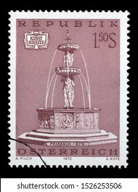 ZAGREB, CROATIA - JULY 03, 2014: A stamp issued in the Austria shows  Fountain in Friesach (Karnten), Art Treasures in Austria, circa 1972.