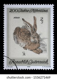 ZAGREB, CROATIA - JULY 03, 2014: A stamp issued in the Austria shows Young Hare by Albrecht Durer, the 200th Anniversary of the Albertina Graphics Collection, circa 1969.