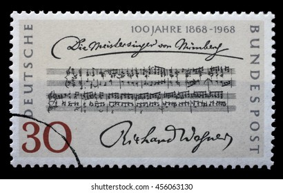 ZAGREB, CROATIA - JULY 03: a stamp printed in the Germany shows Opening Bars, Die Meistersinger von Nurnberg, by Richard Wagner, circa 1968, on July 03, 2014, Zagreb, Croatia