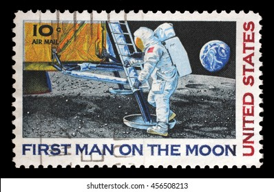 ZAGREB, CROATIA - JULY 03: A stamp printed in USA shows Astronaut Neil Armstrong on the Moon, circa 1969, on July 03, 2014, Zagreb, Croatia