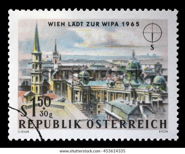 ZAGREB, CROATIA - JULY 03: A stamp printed in Austria shows St. Michael's Church (Michaelerkirche) and Hofburg Palace, Vienna, circa 1964, on July 03, 2014, Zagreb, Croatia
