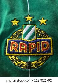 ZAGREB, CROATIA - JULY 04, 2018. - Austrian football club SK Rapid Wien emblem on jersey.