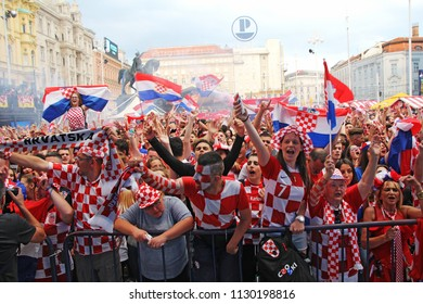 ZAGREB, CROATIA - JULY 07 Croatian football fans on the Ban Jelacic Square, watching 2018 FIFA WORLD CUP RUSSIA match Russia vs Croatia on July 07, 2018 in Zagreb, Croatia