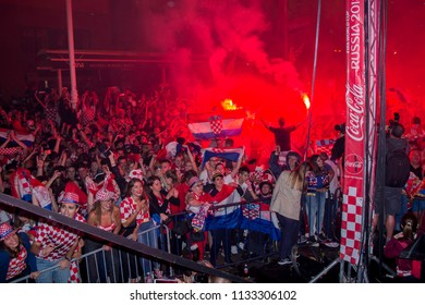 ZAGREB, CROATIA - JULY 11 Croatian football fans on the Ban Jelacic Square, watching 2018 FIFA WORLD CUP RUSSIA match Croatia vs England on July 11, 2018 in Zagreb, Croatia