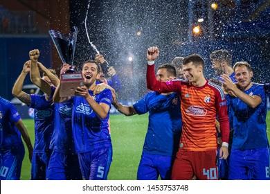 ZAGREB, CROATIA - JULY 13, 2019: Croatian league Supercup,  GNK Dinamo vs. HNK Rijeka. Dinamo players holding trophy and celebrating victory