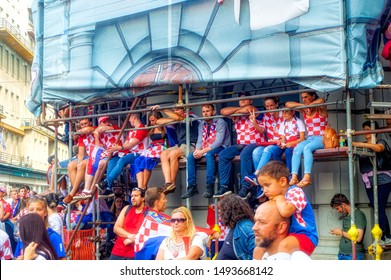 ZAGREB, CROATIA, July 15 2018: Fans of Croatian soccer national team fans standing on scaffolding during final match of FIFA World cup 2018 in Zagreb, Croatia.