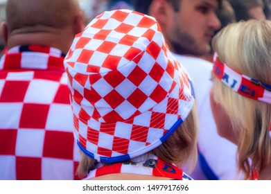 ZAGREB, CROATIA, July 15 2018: Fans of Croatian national soccer team gathered in city to watch final game of FIFA World Cup 2018, in Zagreb, Croatia.