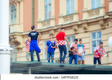 ZAGREB, CROATIA, July 15 2018: Young fans of Croatian national soccer team gathered in city to watch final game of FIFA World Cup 2018, in Zagreb, Croatia.