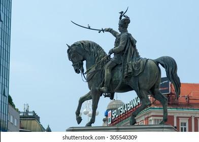 Zagreb, Croatia - July 16, 2015: Ban Jelacic statue on central city square of Zagreb.