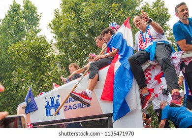ZAGREB, CROATIA - July 16, 2018: Croatia welcomes national representation team in Zagreb, Croatia, after winning 2nd place on Fifa World Cup Russia 2018, people celebrating on street and greeting team