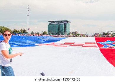 Zagreb, Croatia, July 16, 2018: Croatia welcomes national representation team in Zagreb, Croatia, after winning 2nd place on Fifa World Cup Russia 2018, huge flag on street