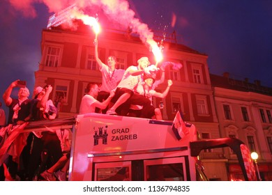 ZAGREB, CROATIA - JULY 16, 2018: Croatian football Team arriving through the crowd with the bus on welcome home celebration on Ban Jelacic Square in Zagreb, Croatia.