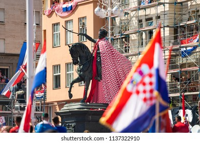 ZAGREB, CROATIA - JULY 16, 2018: Welcome party for Croatian Football Team after finals in FIFA World Cup 2018 in Russia at Ban Josip Jelacic Square.