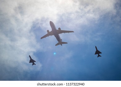 ZAGREB, CROATIA - JULY 16, 2018: Welcome party for Croatian Football Team after finals in FIFA World Cup 2018 in Russia at Ban Josip Jelacic Square. Croatia Airlines Airbus companied by 2 MIG's.