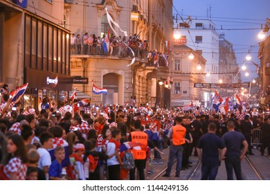 ZAGREB, CROATIA - JULY 16, 2018 : Croatia National Team welcome home celebration for 2nd place on Fifa World Cup 2018. Croatian football fans recording arrival of player on smartphones in Ilica street
