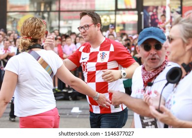 ZAGREB, CROATIA - JULY 16, 2018 : Croatia National Football Team welcome home celebration. HRT journalist and tv host Frano Ridjan coming to ceremony.