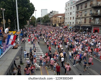 Zagreb, Croatia, July 16 2018: CItizens celebrate the return of the Croatian football squad from World championship where they played in final.