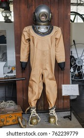 ZAGREB, CROATIA - JULY 18, 2017: Vintage suit of a diver. Technical Museum in Zagreb Croatia.
